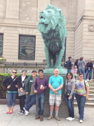 Our 2014 Chicago Group Post Before One of the Art Institute Lions