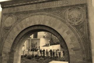 2014 Students Under Burnham's Chicago Stock Exchange Arch